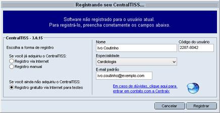 Registro via internet para testes